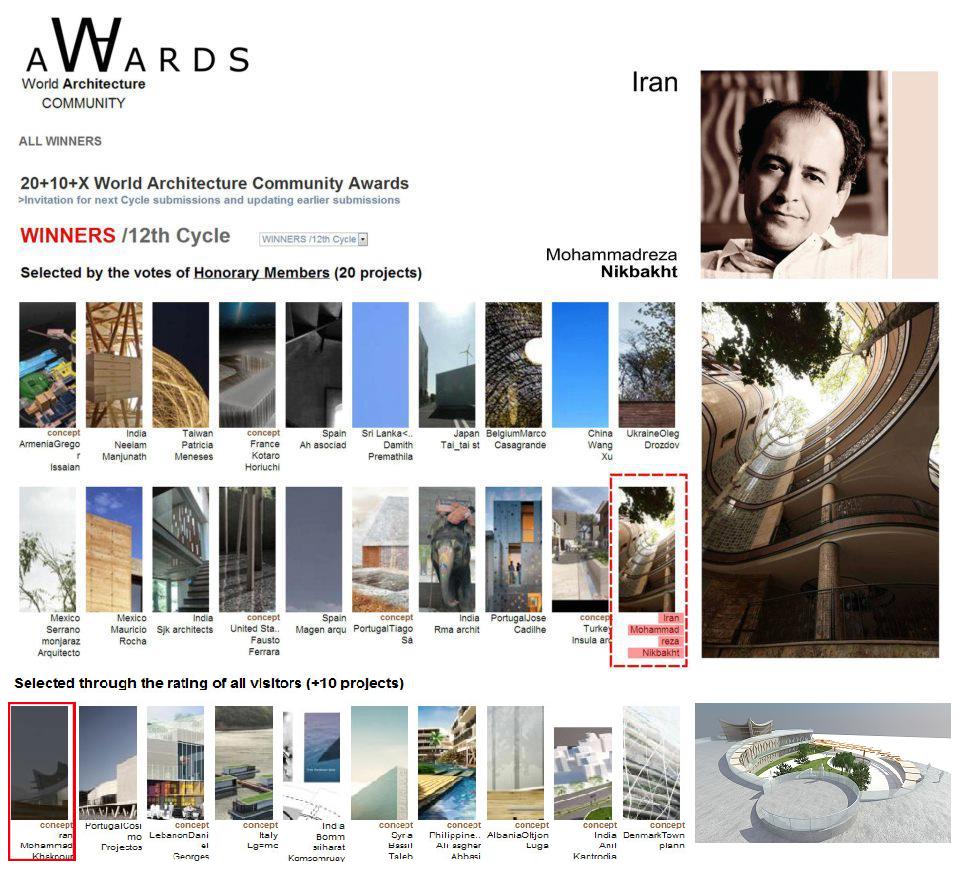 دو طرح برتر ایرانی در سایت جامعه جهانی معماری